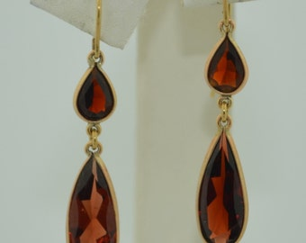 Victorian 10K Rose Gold Garnet Drop Earrings