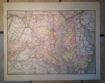 1890 Political Map of Maryland Antique Illustration