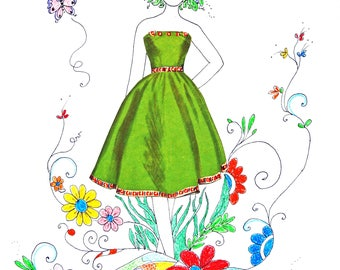 Matted Colored Pencil and Ink Paper Doll Art Print