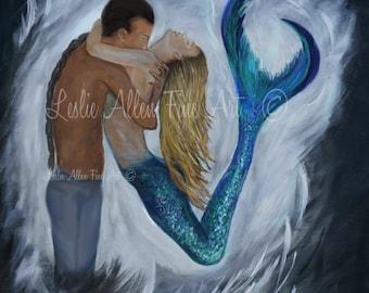 """Mermaid Art Print Couple Paintings Mermaid Print Mermaids Fantasy Art Couples Romantic Kissing """"MY DREAM MERMAID""""  Leslie Allen Fine Art"""
