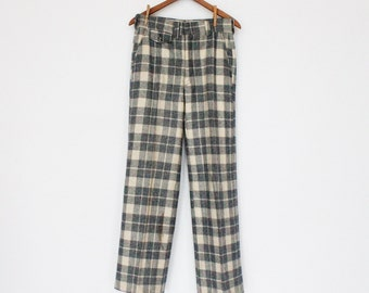 60's Mens Bell Bottom Pants / Wool Plaid / Blue Plaid / 30 x 32 / Small