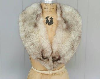 SILVER Fox Fur Collar / bridal wedding / Large