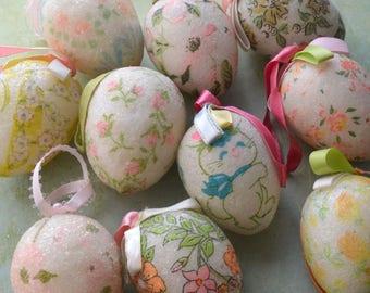 10 Vintage Hand Made Glitter Sugared Styrofoam Easter Egg Ornaments Florals