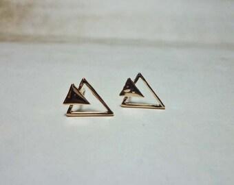 Double Triangle Stud Earrings, Rose Gold Triangle Earrings