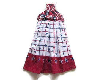 Hanging Patriotic Kitchen Towel - Fabric Top Kitchen Towel - Red White Blue Button Top Hanging Towel - 4th of July Towel