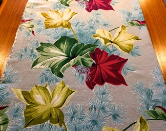 Marvelous Mid Century Leaves and Foliage Barkcloth// Eames Chic with a Hollywood Glam Vibe//Cotton Yardage// Upholstery// Home Decor/Drapery