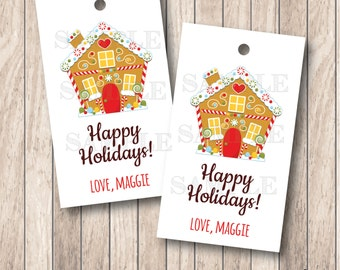 10 Gingerbread House Tags, Personalized Christmas Tags . 2 x 3.5 inches