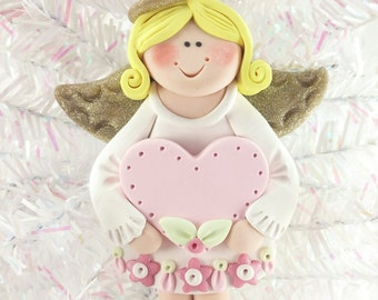 Baby Shower Gift - Baby's First Angel Ornament - Personalized Angel Christmas Ornament - Polymer Clay Angel Ornament - 1112
