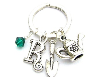Personalized gardening keyring with birthstone crystal, initial charm, gardener keychain, spade, watering can charm, unisex garden gift