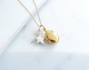 Gold Locket with Silver Star Necklace