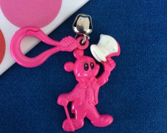Vintage 80's Plastic Bell Clip Charm Mickey Mouse with Top Hat and Cane Toy Necklace Jewelry Pendant Awesome!