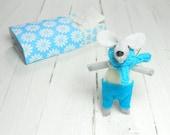 Boy nursery new parent stuffed animals felt stuffed mice in matchbox miniature light blue newborn Baby shower  kids birthday gift