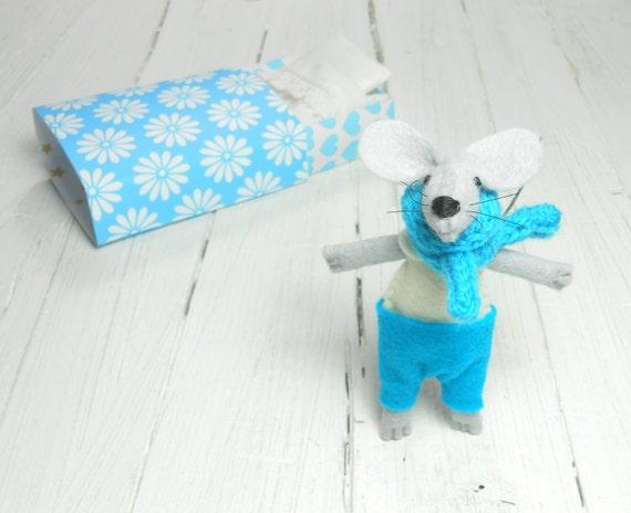 Stocking stuffer kids gift stuffed animals felted animals mouse in matchbox felt dolls white light blue miniature kids birthday gift