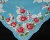 "Vintage 50's 12 1/2"" Scallop Pink Roses and Bleeding Hearts Floral Wedding Favor, Banner, Pocket Square Handkerchief - 9839"