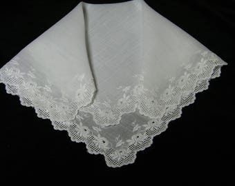 Lovely Vintage 1950's All Around Embroidered White on White Floral Brides Wedding Handkerchief, Hankie, Hanky -  9865