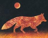 Fox Etching - 11 x 14 Art Print - Oil Pastel Etching