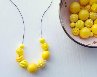 vitamin D - necklace - remixed lucite - sunshine yellow necklace - polkadot