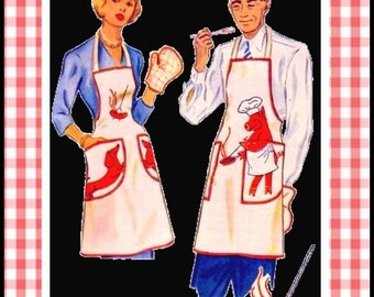 Vintage 1949-Mr and Mrs BBQ APRONS-Sewing Pattern Chefs Hat-Quilted Mitt- Dachshunds- Hot Dogs-Pig Chef Applique-Unisex-Rare-Collectible