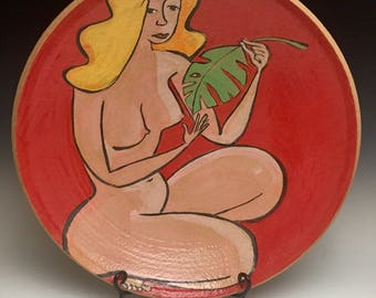 Tropical Dreams; Large Decorative Bowl; Functional Fine Art; Female Nude; Island Style