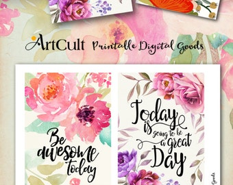 """Printable MOTIVATIONAL GREETING CARDS No.4 digital download 3.5""""x5"""" size images hand-painted flowers typography art for decoration and craft"""