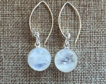 Moonstone Bezel Set Sterling Silver Earrings