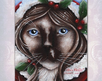 Christmas Cat Holly Berry, Ragdoll Cat Fantasy Art, 8x10 Fine Art Print