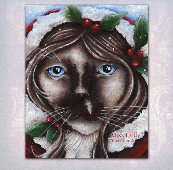 Christmas Cat Holly Berry, Ragdoll Cat Fantasy Art, 8x10 Fine Art Print
