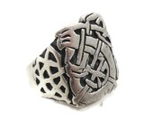 Celtic Knot Ring, Sterling Silver, Celtic, Vintage Ring, Irish Jewelry, 925, Size 12 1/2, Irish Band, Unisex, Mans Mens, Signet Ring, Large