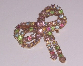 Vintage Brooch with Pastel Rhinestones