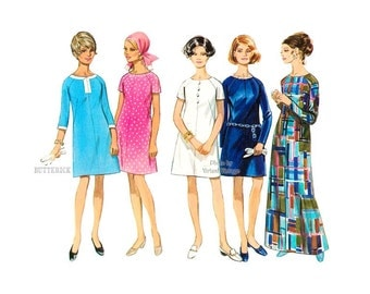 Easy 60s A Line Evening Dress Pattern Butterick 5192 Day Dress or Evening Gown, Bust 34 or 36, Uncut