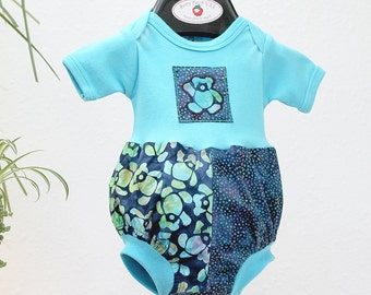 Teddy Bear Baby Romper Unisex Baby Clothes Hipster Newborn Baby Gift Turquoise Baby Bubble Romper Unique Baby Gift 3 6 9 12 18 months Batik