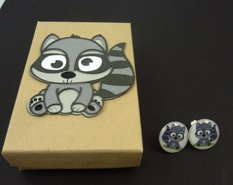 "Raccoon  Post or Stud Earrings.  With Hand Decorated Box.   Handmade by Me.  5/8"" or 16 mm Round."