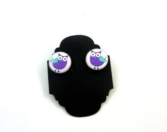 "Purple Owl Earrings.  Post or Stud Earrings.  SMALL and Lightweight 5/8"" or 16 mm Round."