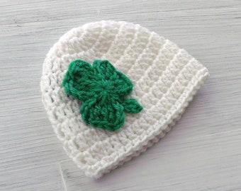 St Patricks Day Shamrock Hat, Crochet Shamrock Baby Hat, Irish Baby Hat, Shamrock Newborn Baby Hat, Baby Shower Gift
