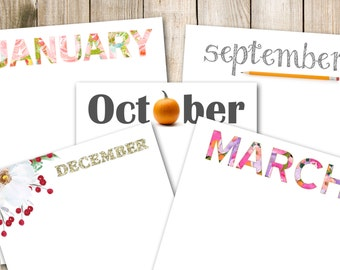Printable newsletter headers, Monthly newsletter templates, printable DIY, letter size, 8.5 x 11