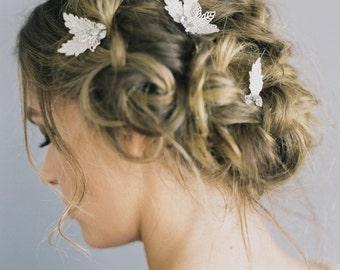 "Wedding Hair Pins in Leaf Motif with crystals ""Olivia"""