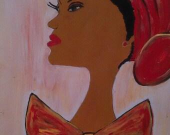 african american art,black woman art,black woman painting,orange purple art,black girl art,bow tie,headscarf,head covering,sharahschoices