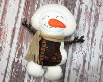 Christmas Snowman Doll / Snowman Plush / Smores Snowman / Snowman Softie / Snowman Doll / Christmas Decor / Stuffed Snowman / Toy Snowman