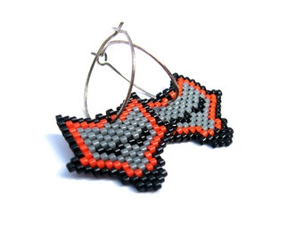 Earrings - Sleeping Grey Foxes - Grey, Bright Orange, Black - 925s sterling silver hoops