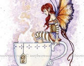 5x7 Warm Toes tea fairy PRINT by Amy Brown