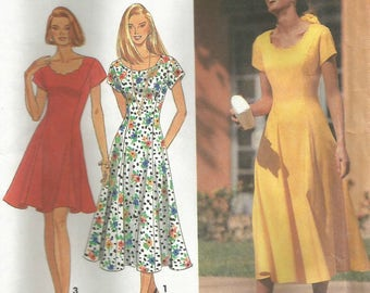 Vintage Simplicity 8345 UNCUT Misses Princess Seam Fit and Flare Dress with Scoop and Scallop Neckline Sewing Pattern Size 12-16 Bust 34-38