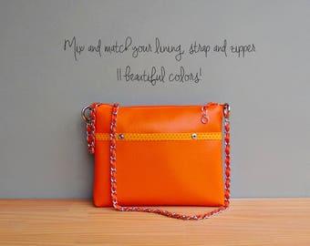 Spring Polka Dot Shoulder Bag in Tangerine, Summer Vegan Crossbody Bag, Orange Faux Leather Handbag with Silver Chain Strap, Vinyl Purse