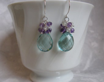 Apatite Quartz Earrings with Amethyst Cluster in Silver