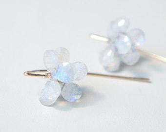 Rainbow Moonstone Flower Earrings, Wedding Earrings, Lotus Flower Water Lily Jewelry, June Birthstone