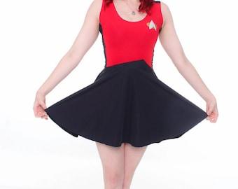 Star Trek Skater Dress ~ Handmade, Geeky, Nerdy, Picard, Janeway, Enterprise, Spock, Vulcan