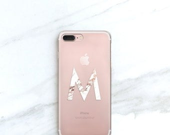 Personalized Clear iPhone 7, Plus Case Marble Monogram iPhone 6S, SE, 5S, Rose Marble Monogram Gift for Her, Women, Sister, Wife, Mom