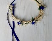 Royal Blue flower girl crown dried silk floral Toddler headband halo mini hair wreath wedding bridal party accessories