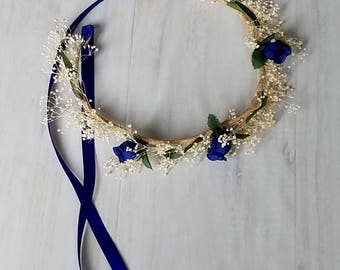 Royal Blue flower girl crown dried silk floral Toddler baby headband halo mini hair wreath winter wedding bridal party accessorie photo prop