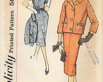 Simplicity 2688 UNCUT 1950s Slenderette Dress with Boxy Jacket Vintage Sewing Pattern Bust 32 Wiggle Dress