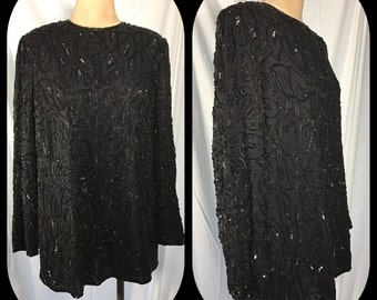 1980s Valerie Stevens Bead and Sequin over Silk Tunic Top - Size 14W